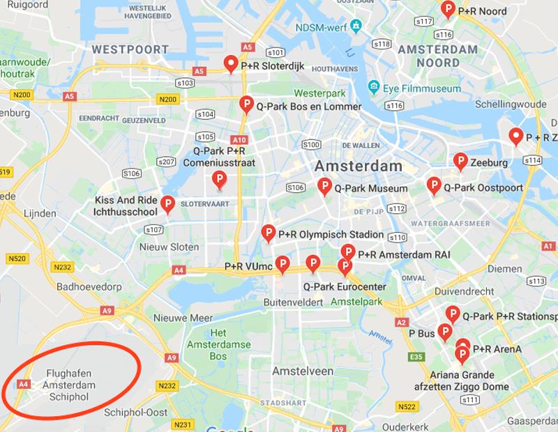 Amsterdam Flughafen gratis Parken - Park And Ride Amsterdam