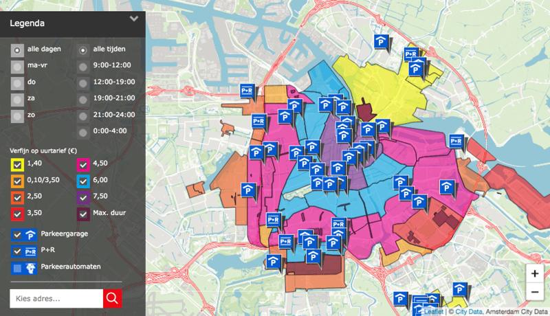 Gratis Parken Flughafen Amsterdam - Tarifzonen Stadtgebiet
